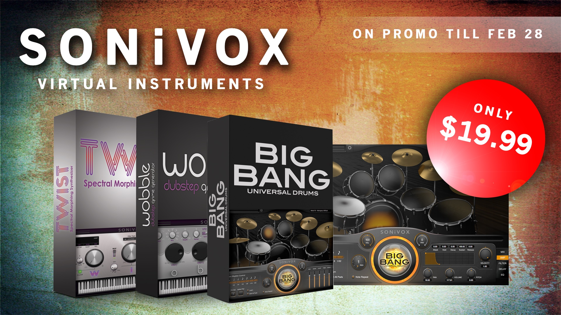 Sonivox Twist, Wobble, Big bang Universal Drums Promo